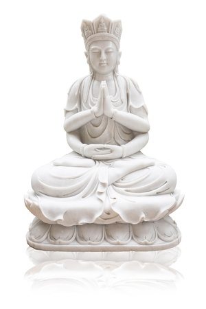 Guan Yin on a white background, isolated photo