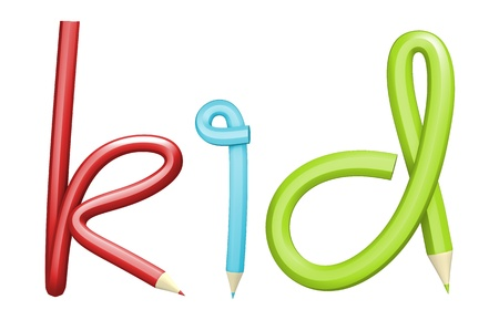 sharp curve: Creative Bending a pencil as KID on a white background  Isolated 3d model Stock Photo