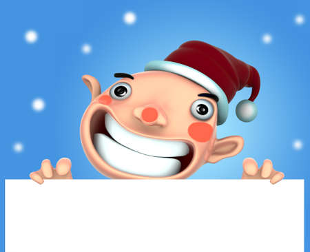 3d Santa Claus illustration smile holding a blank sign on snow background illustration