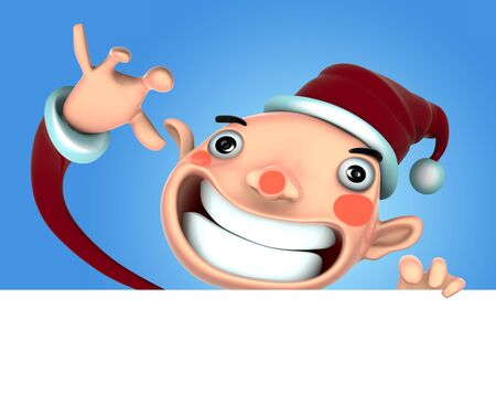 fictional character: 3d Santa Claus illustration smile holding a blank sign on snow background