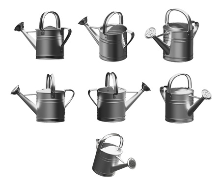 3d set watering can silver on a white background, Isolated  Stock Photo