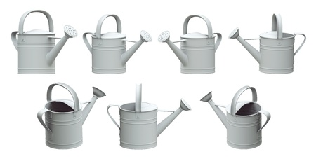 spout: 3d set watering can white color on a white background, Isolated