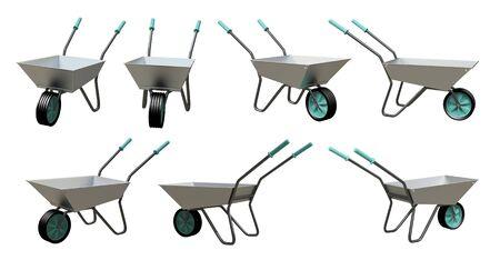 chromium: Wheelbarrow chromium model 3d illustration Isolated on a white background  Stock Photo