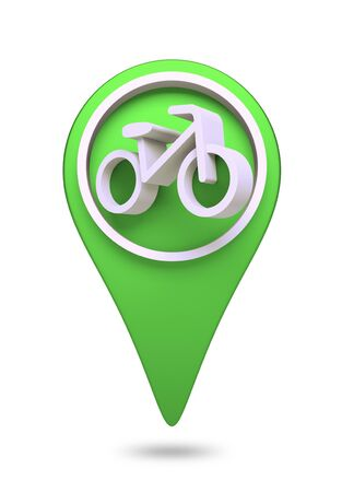 check in: 3D bike and bicycle Icon website design element  isolated