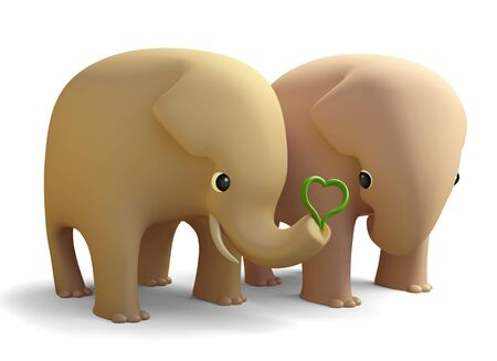 3D elephant couple in love, isolated Stock Photo - 16060769