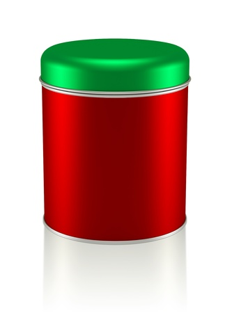 3D Christmas Tin Can design product package, isolated photo