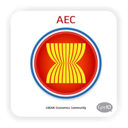 Vector flag ASEAN Economic Community  AEC 2015, isolated