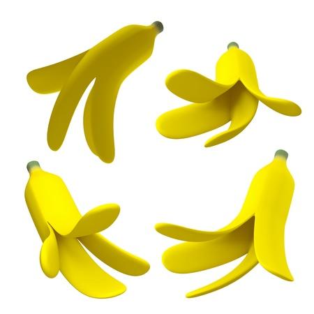 3D banana peel set isolated on white  photo