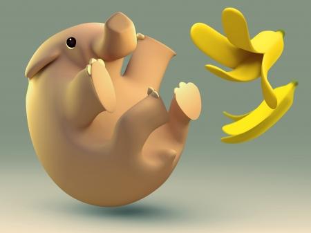 slippery: 3D elephant slipped by a banana