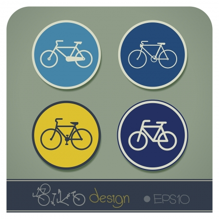 eco notice: illustration set of bike symbols of vintage bicycle