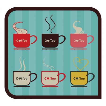 Vector set cup of coffee vintage