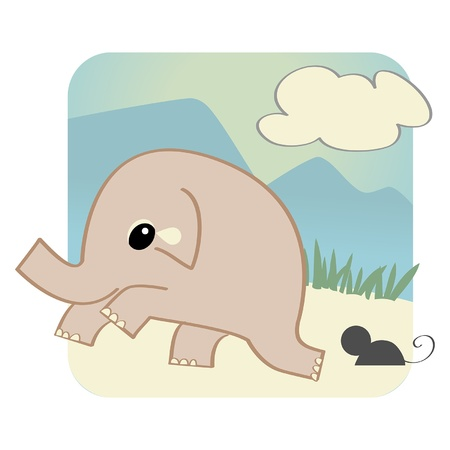 elephant frightened of a mouse  Vector