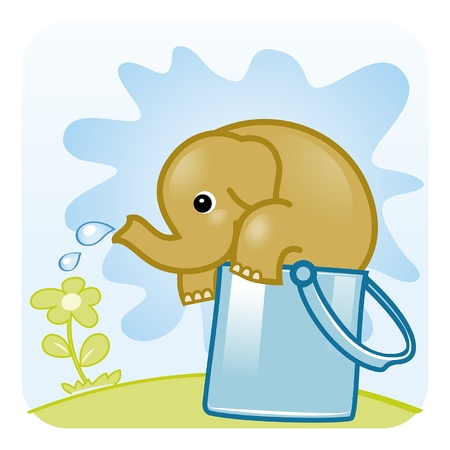 ear drop: Elephant watering flower  Big Watering Can  vector illustration  Illustration