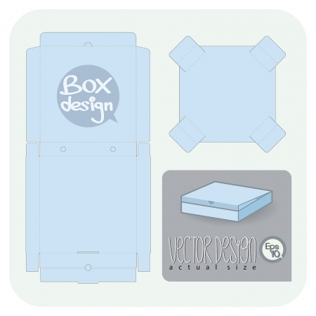 packing boxes: Vector Pizza package die cut  actual size   Illustration