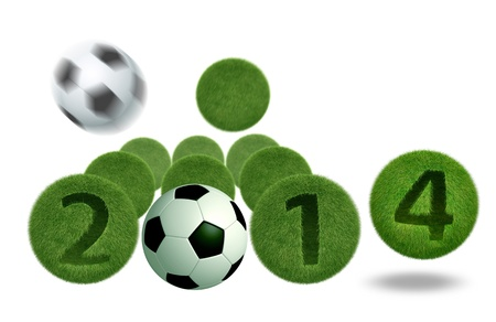 soccer and football 2014 model 3D Isolated, on white background  photo