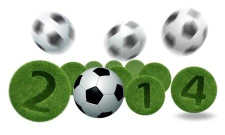 voetbal en voetbal 2014 model 3D Geïsoleerde, op witte achtergrond