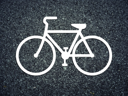 Bicycle symbol on the road photo