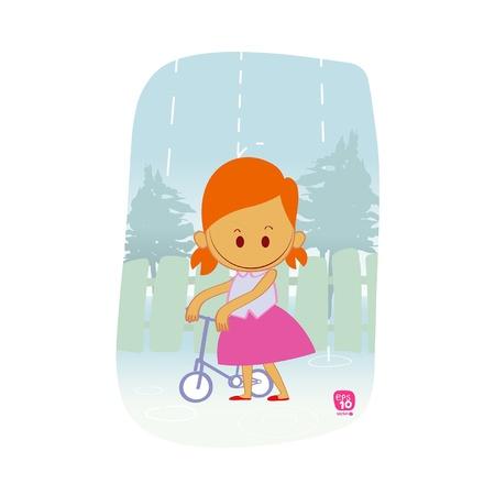 girls and bike in the rain Stock Vector - 20222482