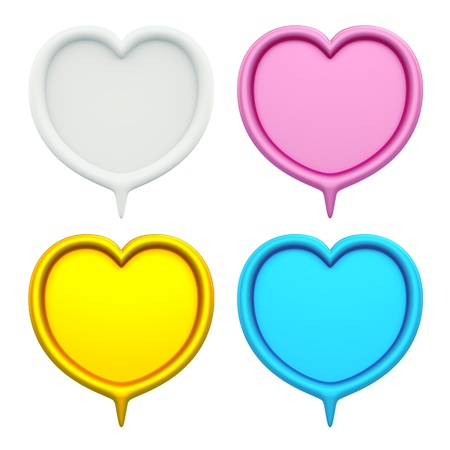 3D Heart set of 4 bubbles speech, design element  isolated photo