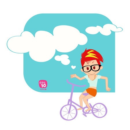woman floating: Young woman a floating with bike