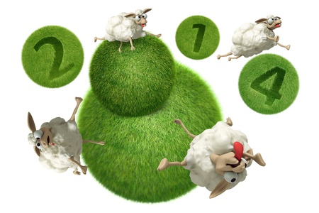 3D Cheep 2014 illustration on a white background, isolated illustration