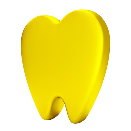 dissect: 3D Icon gold tooth model illustration, isolated