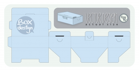 blue box: Vector Gift Box paper die cut  actual size   Illustration