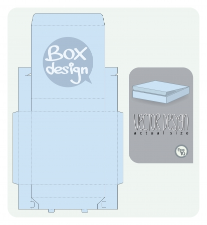packaging industry: Vector Gift Box paper die cut  actual size   Illustration