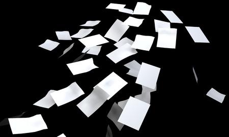 3D white paper falling  die cut  Standard-Bild