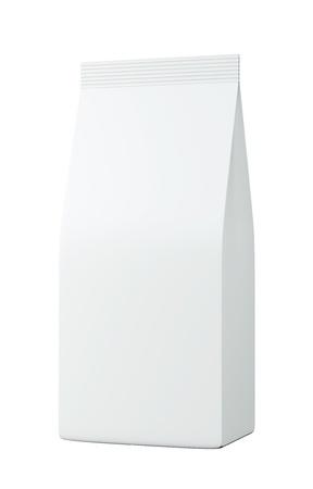 흰색 배경에 3D 화이트 가방 패키지, 고립