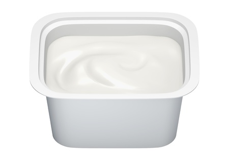 3D Package Plastic container with yoghurt, open packaging isolated