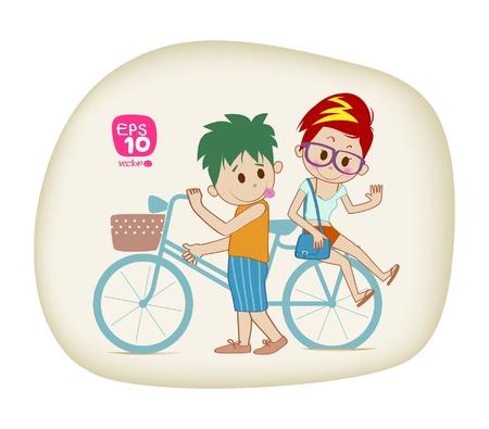 enamorados caricatura: Amor en bicicleta
