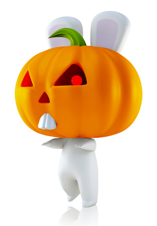 3D Halloween Rabbit with pumpkin head, isolated  photo