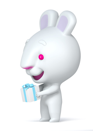 3D Gift box in hand rabbit for Time gifts  photo