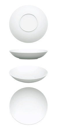 3D White Dish realistic, Isolated  Reklamní fotografie