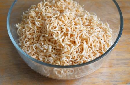 instant noodles: instant noodles on glass bowl