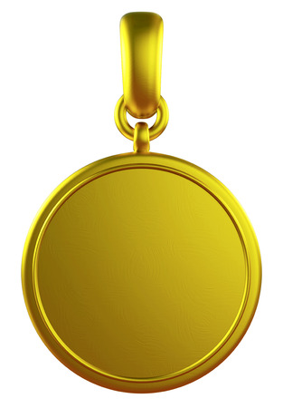 3D pendant gold medal, isolated photo