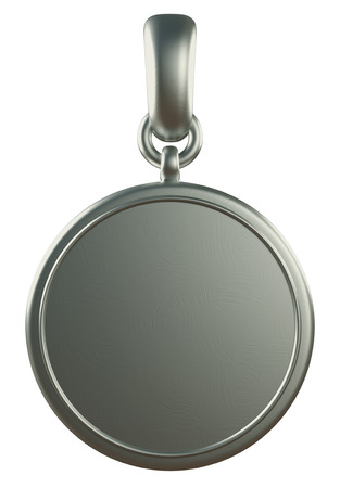 silver medal: 3D pendant silver medal, isolated