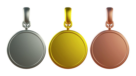 3D pendant Gold, silver and bronze medal, isolated photo