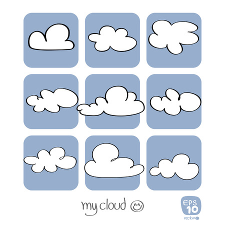 Drawing clouds on a blue background vector Vector