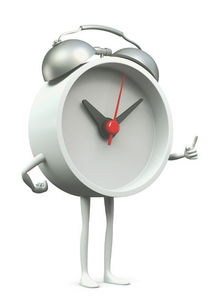 admonish: 3D Clock cartoon pointing finger in disapproval, isolated