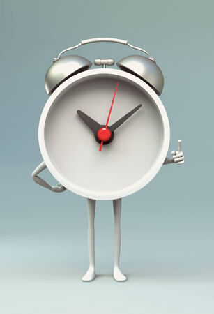 admonish: 3D Clock cartoon pointing finger in disapproval