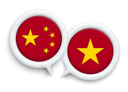 expostulate: 3D icon bubbles speech   CHINA  VS VIETNAM FLAG   on a white background, isolated Stock Photo