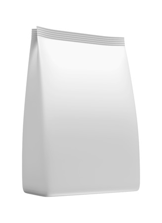 3D White bag package on a white photo