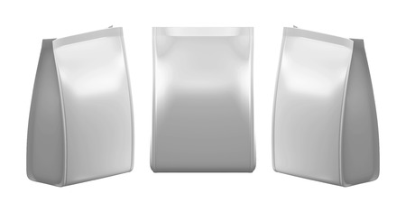 3D Silver bag package on a white photo