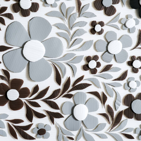 plastic material: Flower Craft handmade Background, corrugated plastic material Stock Photo
