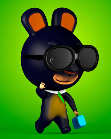 3D Rabbit Cartoon with sunglasses and hand on briefcase go to office photo