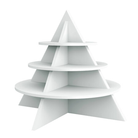 bar area: 3D Christmas tree shelves and shelf design, isolated
