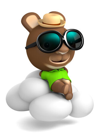 angel alone: 3D Rabbit Angel Cartoon with sunglasses Sleeping On Clouds, isolated