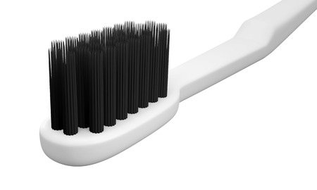 3D Head Toothbrush and Color Charcoal bristle , isolated